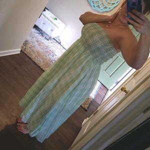 Green & White Checkered Tube Top Maxi Dress